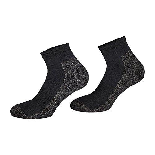 TippTexx24 2 oder 4 Paar (4er Vorteilspack) Silbersocken (Silber-Sneakersocken-Silber Kurzschaftsocken),X-Static Plus Coolmax (Schwarz, 43/46-4 Paar Vorteilspack)