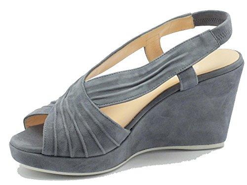 Sandalo Melluso per donna in camoscio colore jeans con zeppa Jeans