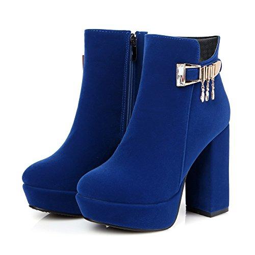 VogueZone009 Donna Punta Tonda Bassa Altezza Tacco Alto Puro Stivali con Studded Strass Azzurro