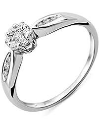 Miore Damen-Ring Solitaire Gold 9 Karat) Diamant 0,25 Karat, verstellbar, Dreiecke, MF9033R4