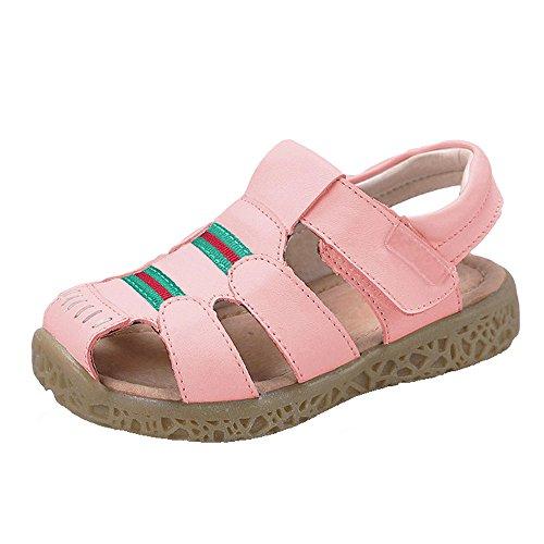 GAXmi Sandalen Leder Jungen Geschlossene Zehe Sommer Schuhe für Mädchen Kinder Kleinkind, Rosa, (Herstellergrösse 24/170, 23.5 EU)