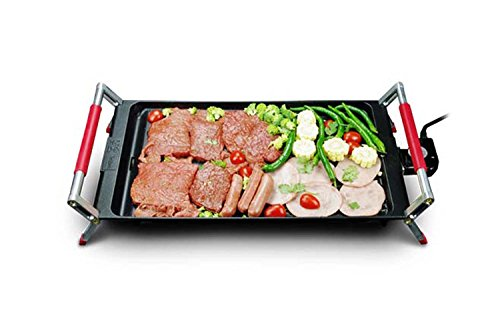 J&A Electric Griddle Grill Teppanyaki Barbecue, Large Easy Cleanup Cooking Surface and Thermostat Drip Tray,Portable Hot Plate Camping, Non Stick, Adjustable Temperature 1800W