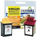 2x Cartouches d'encre Compatibles pour Imprimante Lexmark Colour JetPrinter Z52 - Noir+Tri-Colour