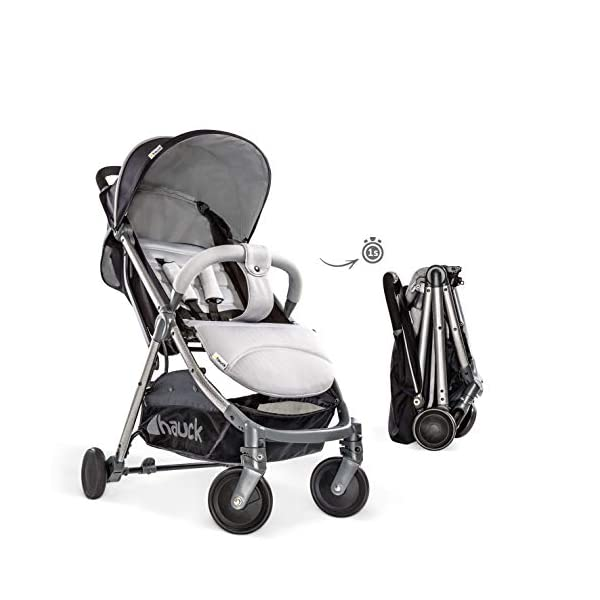 Hauck Swift Plus, Compact Pushchair with Lying Position, Extra Small Folding, One Hand Fold, Lightweight, Carrying Strap, from Birth Up To 15 kg, Silver/Charcoal Hauck EASY FOLDING - This pushchair is as easy to fold away as possible - the comfort stroller can be folded with one hand only within seconds, leaving one hand always free for your little ray of sunshine LIGHTWEIGHT - This pushchair can not only be folded away very compactly, but also easily transported by its carrying strap thanks to its light weight and aluminium frame COMFORTABLE - Backrest and footrest are multi-adjustable, the hood extendable. In addition, the pushchair comes with suspension, swiveling front wheels, soft padding, and large shopping basket 4