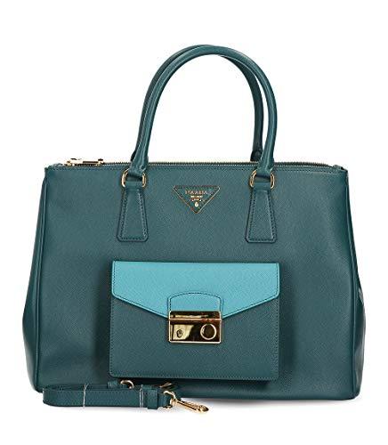 Prada Saffiano Lux - BN2674 - Damen Tasche - Teal - Saffiano Leder -BxHxT (35x25x15cm) - Prada Umhängetasche