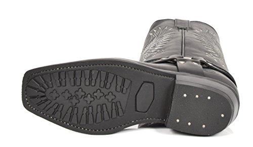House of Luggage Bottes de Cowboy en Cuir Véritable Pour Homme Talon Western Longueur du Mollet Carré Bout Chaussures HLG02BE Noir