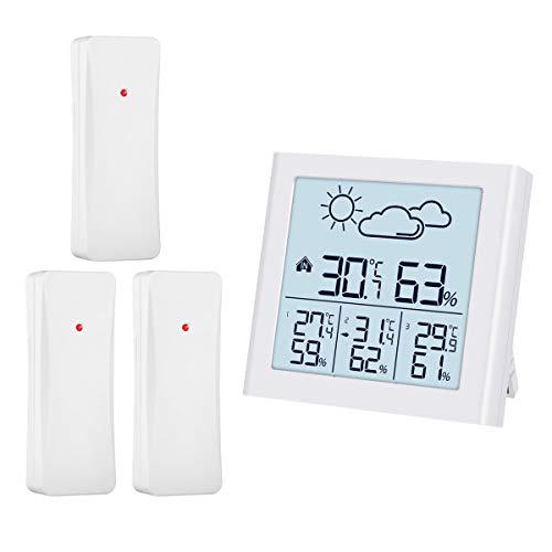 ORIA Estación Meteorológica Inalámbrica, Termometro Higrometro Digital con 3 Sensor, Monitor deTemperatura...