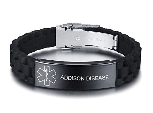 Vnox bracciale regolabile personalizzato in gomma personalizzata in silicone nero personalizzato per uomo in acciaio inossidabile,addison disease