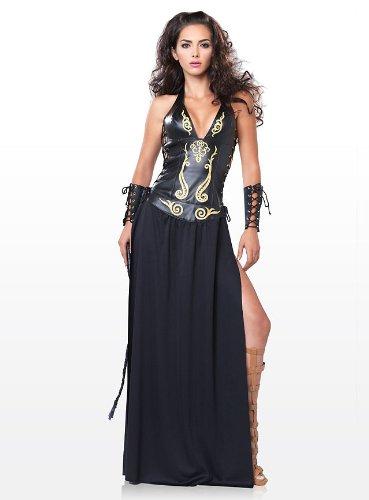 Schwarze Göttin Kostüm - Leg Avenue - Krieger Göttin Kostüm 2-teilig - S - Schwarz/Gold - 83511