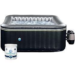Spa carré gonflable Aspen - 4 places - noir + kit de traitement de l'eau