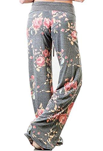 YuanDian Donna Casual Coulisse Stampa Alta Vita Yoga Pantalone Palazzo Larghi Fluidi Eleganti Femminili Flare Baggy Zampa Pantaloni Fiore 6#