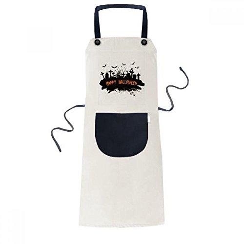ht Friedhof Halloween Kochen Küche Beige Adjustable Latzschürze Taschen Frauen Männer Chef-Geschenk ()