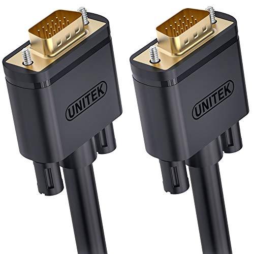 Unitek VGA 1m Kabel, 1080P VGA/SVGA Video Monitor coaxial Verlängerungskabel HD mit 2 ferritfilter/vergoldeten Kontakte/15-polig HD Stecker, kompatibel für Projektoren, Hdtvs, Displays Y-C511G