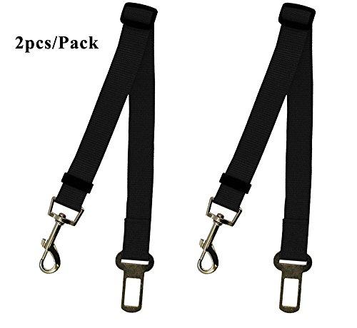 Leetop 2 Packs Hunde-Sicherheits-Gurt Verstellbar fürs Auto,Auto Hunde Sicherheitsgurt Hundegurt Sicherheitsgeschirr Hunde Adapter Auto Sicherheitsgurt(Schwarz+Schwarz)