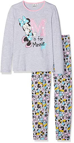 Disney minnie, pigiama bambina, (lgrey light grey melange), 8 anni