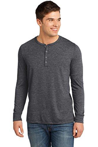District Herren Long Sleeve Henley T-Shirt Grau - Charcoal Gravel