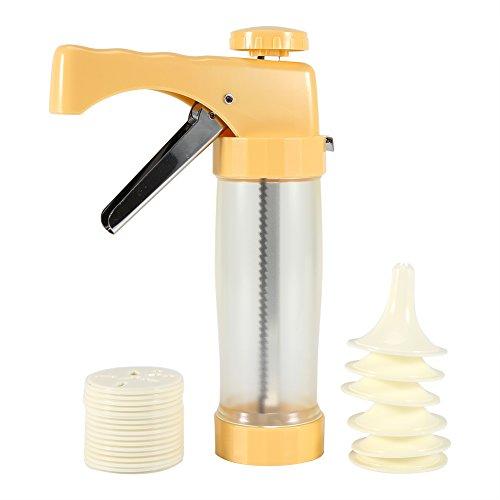 Gebäckspritze edelstahl, Einhand-Garnierspritze mit 6 Unterschiedlicher Stil Form(yellow) (Milchglas-zylinder)