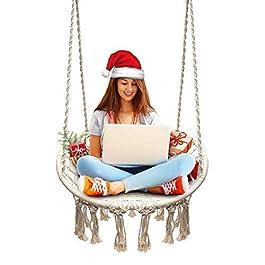 Chaise Suspendue, tricotée par Corde de Coton avec des Franges romantiques hamac macramé Chaise balançoire pour l…