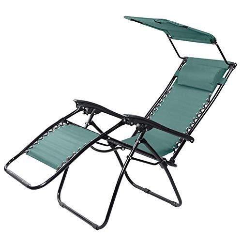 Moolo Liegestühle im Freien Klappbare Schwerelosigkeit Patio Liegestuhl Liegestuhl im Garten mit Baldachin Tragbare Liegestühle Stützen 200 kg -
