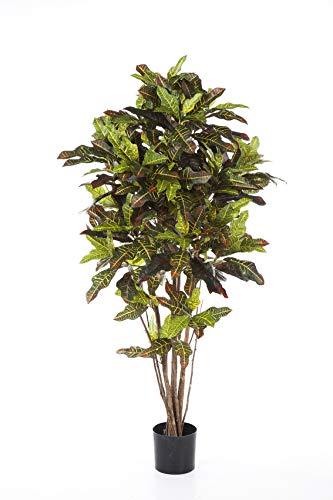 artplants Set 'Kunstpflanze Kroton + Gratis UV Schutz Spray' – Künstlicher Kroton BEQA, Echtstämme, schwer brennbar, bunt, 180 cm