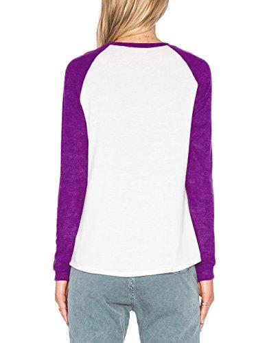 ZJCTUO Damen Langarm Rundhalsausschnitt Kontrast Shirt T-Shirt Blusen Top Lila