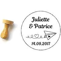 Tampon mariage personnalisé, thème voyage, motif avion coeur, bois rond 4 cm, réalisé sur mesure avec votre texte