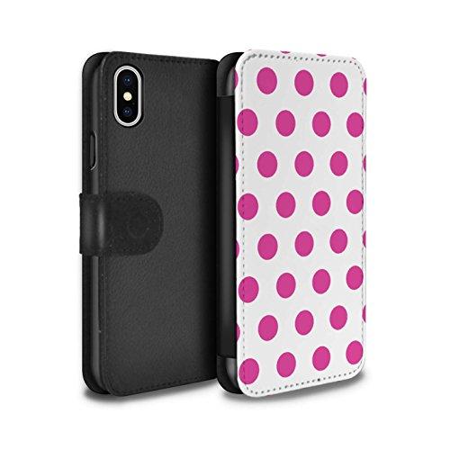 Stuff4 Coque/Etui/Housse Cuir PU Case/Cover pour Apple iPhone X/10 / Pack 10pcs Design / Toqué à Pois Collection Rose Profond