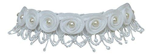Kropfband Trachtenschmuck aus weißer Spitze - Dirndl Collier mit weißen Blüten und Perlen - Hochzeit