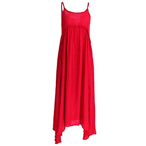 MagiDeal Donne Ragazze Vestito Abiti del Cotone di Estate Spiaggia Rosso