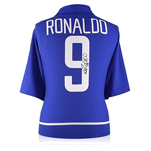 Exclusive Memorabilia Ronaldo de Lima Signed 2002-04 Brazil Away Shirt