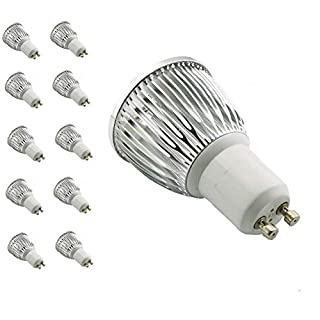 AUROX Long Neck 6W GU10 LED Spotlight Bulbs 4000K Daylight White 50 watt Halogen bubls Equivalent,60°Beam Angle,Ultra Bright,for Ceiling Lighting, Tracking Lighting or Recessed Lighting, Pack of 10