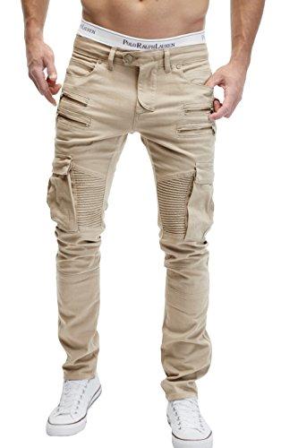 MERISH Herren Bikerchino Jeanshose Denim Chino Zipper BeintaschenTrend Jeans Hose Neu 2055 Hell-Beige