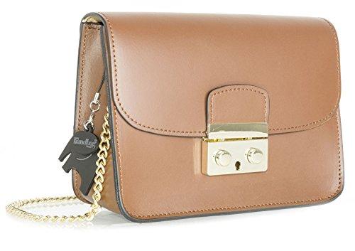 Big Handbag Shop borsa a tracolla piccola, in vera pelle italiana, clutch per feste, matrimoni. Light Tan
