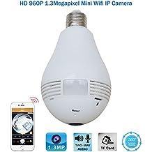 Wifi 360 bombilla de gran angular cámara de seguridad ocultada 1.3MP HD red de gafas VR CCTV cámara IP Fisheye panorámica de dos vías de audio de visión nocturna de vídeo Home Monitor