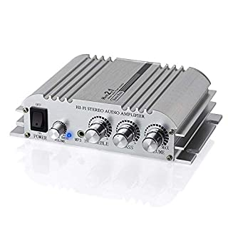 Mini Hi-Fi 2.1 Audio Power Digital Stereo Amplifier Amp - Aluminum Alloy Solid Case and Easy to Distribute The Heat - Super Bass for CD MP3 MP4 iPod Motorcycle Car