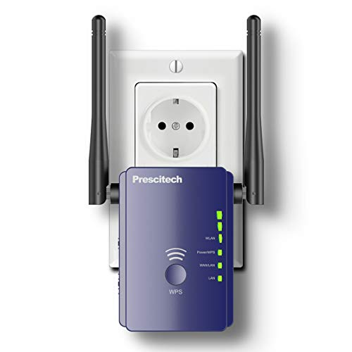 Coredy WLAN Verstärker, Prescitech E300 Mini WLAN Repeater Signal WLAN Verstaerker (300 Mbit/s, 2 LAN-Ports, WPS, kompatibel mit Allen WLAN Geräten, Geeignet für Deutschland)-Aktualisierte Version