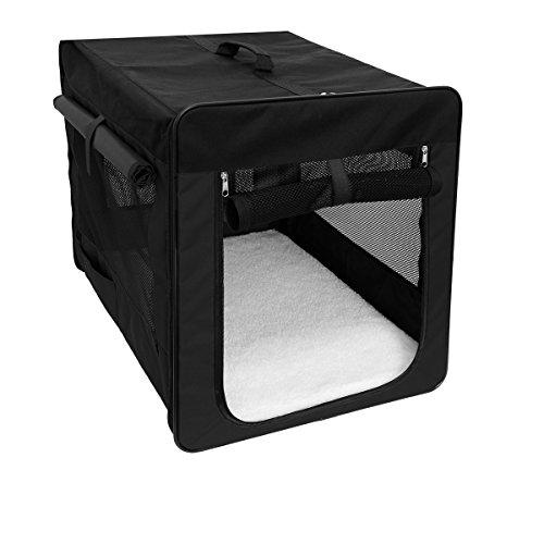 ECD Germany Klappbare Transportbox für Hund und Katze S 420*360*410mm inkl. Polster aus Lammfellimitat Schwarz Hundebox Hundetransportbox Autobox Transporthütte