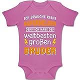 Shirtracer Geschwisterliebe Baby - Ich Habe den weltbesten großen Bruder - 6-12 Monate - Pink - BZ10 - Baby Body Kurzarm Jungen Mädchen