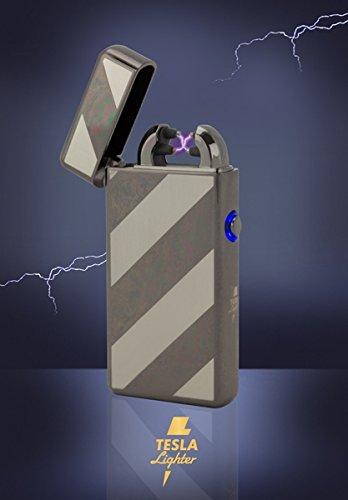 Tesla-Lighter T08 | Lichtbogen Feuerzeug, Plasma Double-Arc, elektronisch wiederaufladbar, aufladbar mit Strom per USB, ohne Gas und Benzin, mit Ladekabel, in edler Geschenkverpackung, Schwarz gestreift