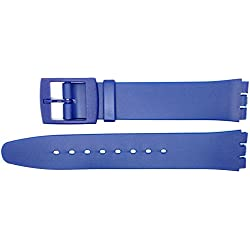 New 16mm (19mm) Sized Resin Strap Compatible for Swatch® Watch - Blue - RG14AK