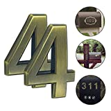 Magicdo, Zahl aus massivem Messing, 2er-Pack, 7 cm, moderne Hausnummer, schwebender Effekt, einfach zu installieren (2er-Pack, Messing), Number 4
