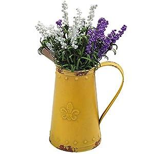 SHINGONE Metallvase Vintage Vase Deko Garten für Blumen, Vase Shabby Chic Eisen Blumen Krug Pitcher Blumenvase, Metal Blumenvase Gelb