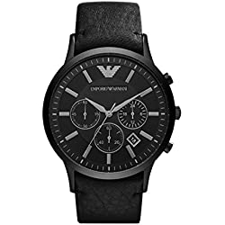 Emporio Armani AR2461 - Reloj (Reloj de pulsera, Masculino, Acero inoxidable, Negro, Cuero, Negro)
