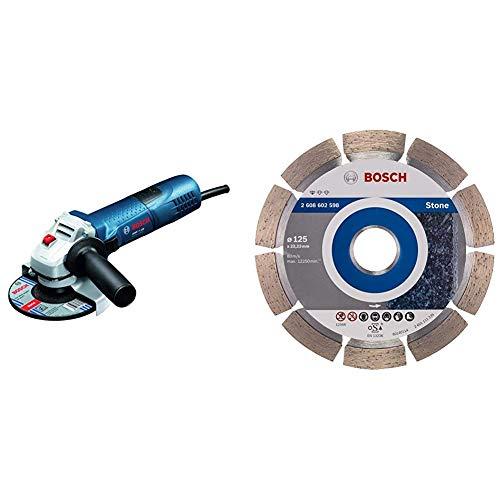 Bosch Professional Winkelschleifer GWS 7-125 (720 Watt, Scheiben-Ø: 125 mm, im Karton) + Bosch Pro Diamanttrennscheibe Standard for Stone zum Schneiden von Granit und Naturstein (Ø 125 mm)