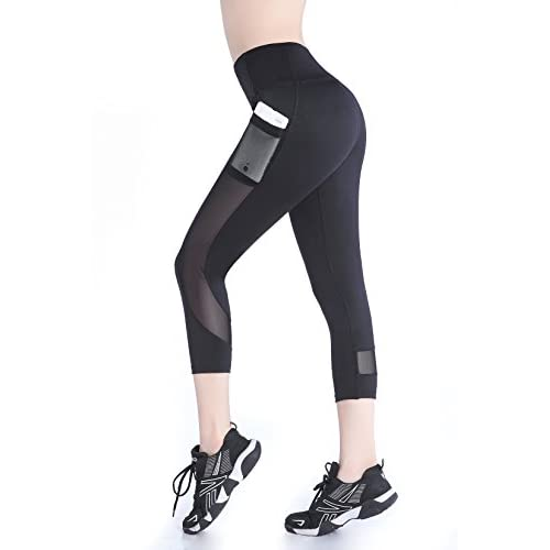 41Mxnp56nIL. SS500  - EAST HONG Women's Mesh Capri Workout Leggings Running Yoga Pants with Pocket