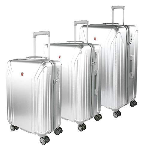 Traveller Hartschalen Kofferset New York (S, M & L) - 4 Rollen 3er Reisekoffer Set, Silber mit TSA Zahlenschloss
