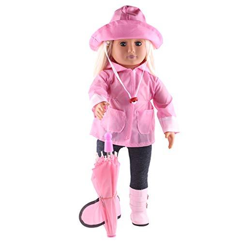Zolimx Puppenregenmantel 6 Stücke Set, Kleidung Hut Pullover Jeans Anzug für American Dolls 18 Zoll Zubehör Mädchen ()