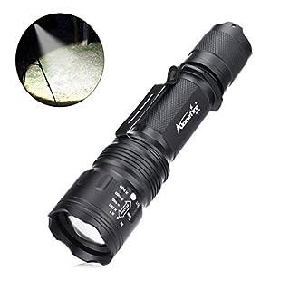 alonefire LED-Taschenlampe, taktische Maelstrom-Taschenlampe, zur Selbstverteidigung, Hochleistungslampe, XML T6,schwarz, mit Druckschalter, 5Modi, für Sport/Zelten, SKU946, 140 mm