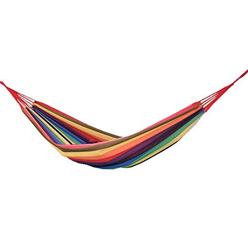 Wgwioo Portable Swinging Hängematte Einzel Doppel Verdickt Leinwand Garten Schaukel Rainbow Stripe Für Outdoor Garten Camping Strand Reise Schlafbett,Yellow,200 * 150Cm (Hängematte Stativ)