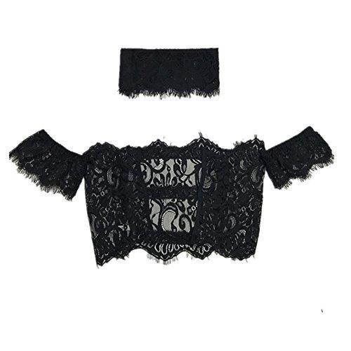 Aierwish Damen neu Sexy Spitze Wort Schulter Verlockung Versuchung Baby Dolls Negligee kurze Ärmel mit Halsbänder (M, schwarz)